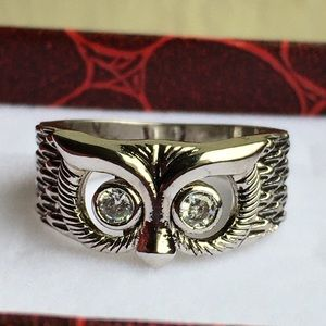 Vintage sterling crystal owl ring